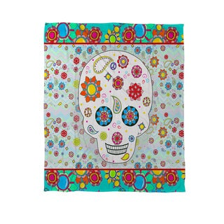 Thumbprintz Sugar Skull Colored Box  Coral Fleece Throw