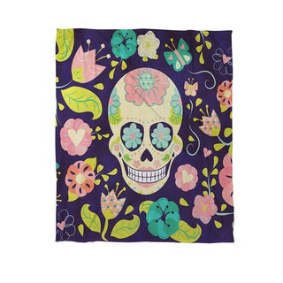 Sugar Skull Coral Fleece Throw