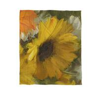 Sunflowers Square II Coral Fleece Throw