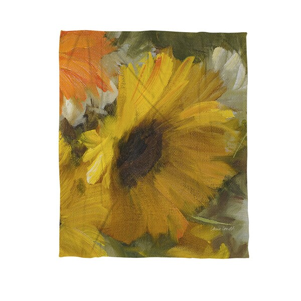 Sunflowers Square II Coral Fleece Throw