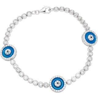 Sterling Silver Blue Evil Eye Charm Bracelet