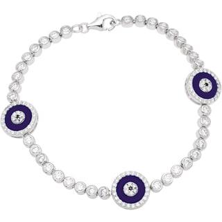 Sterling Silver Purple Cubic Zirconia Evil Eye Charm Bracelet