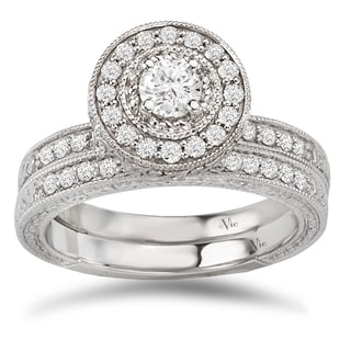 Avanti 14k White Gold 5/8ct TDW Diamond Vintage Halo Bridal Ring Set (G-H, SI1-SI2)