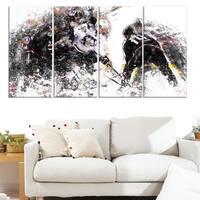 Design Art 'Hockey Face Off' Canvas Art Print