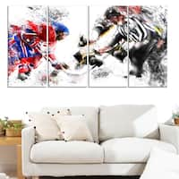 Design Art 'Hockey Face Off' Canvas Art Print
