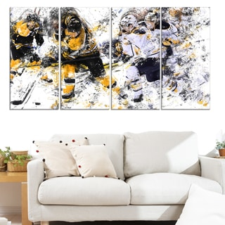 Design Art 'Hockey Power Play' Canvas Art Print