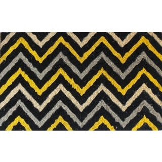 First Impression Yellow and Black Decorative Chevron Doormat