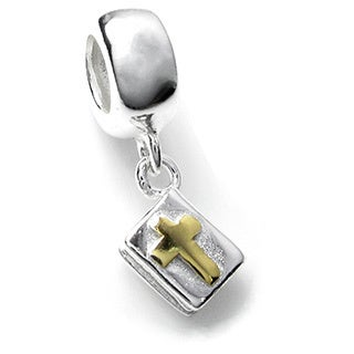 Queenberry Sterling Silver Bible Gold Cross Dangle European Bead Charm
