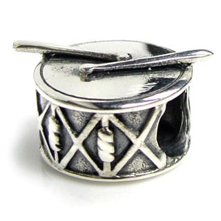 Queenberry Sterling Silver Drum with Sticks European Bead Charm