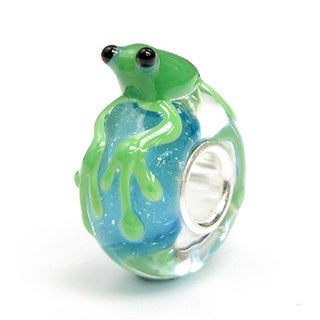 Queenberry Sterling Silver Green Leaping Frog Blue Glass European Bead Charm