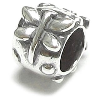 Queenberry Sterling Silver Dragonfly Bead European Bead Charm