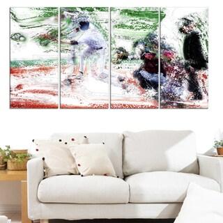 Design Art 'Baseball Bases Loaded' Canvas Art Print