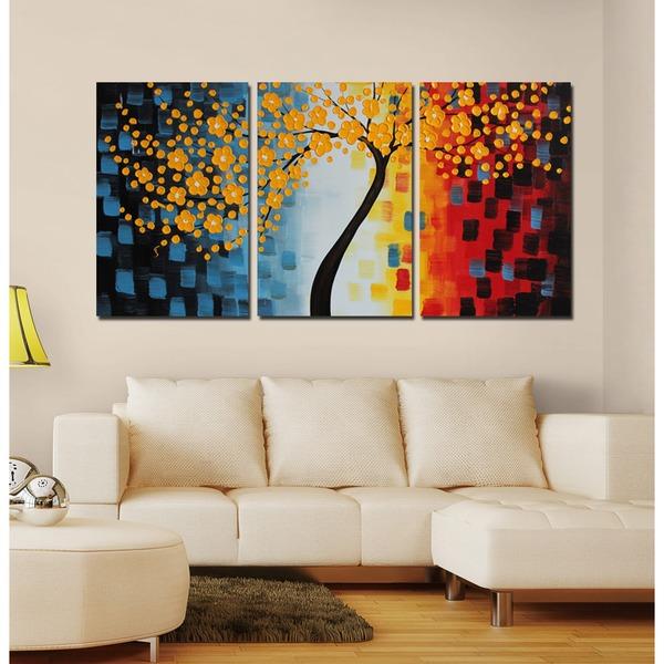 Design art 39 multi color tree canvas painting 39 canvas art for Set of three canvas paintings