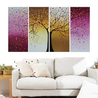 Design Art 'Pink and Yellow Blossoming Tree' Canvas Art (Set of 4)