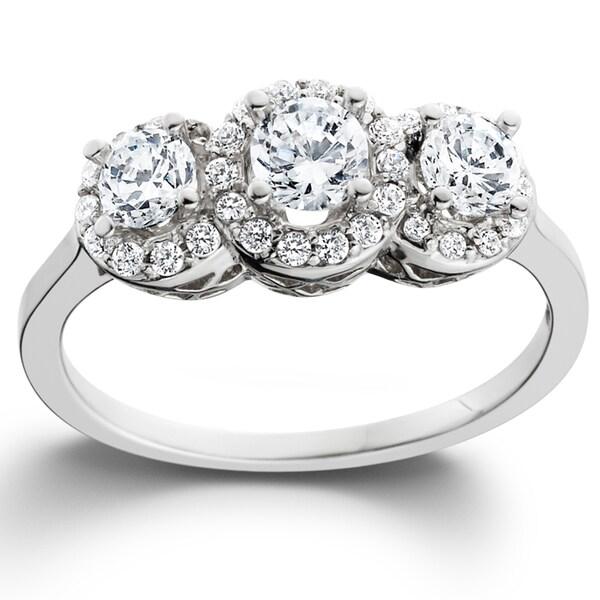 14k White Gold 1ct TDW Diamond 3-stone Engagement Ring