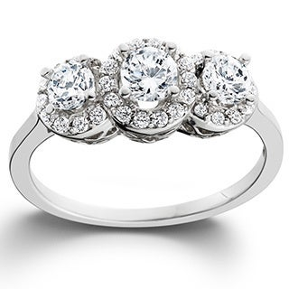 14k White Gold 1ct TDW Diamond 3-stone Engagement Ring (I-J, I2-I3)