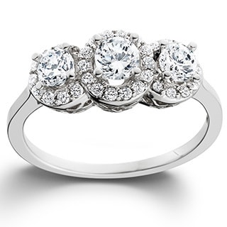 14k White Gold 1ct TDW Diamond 3-stone Engagement Ring