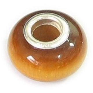 Queenberry Sterling Silver Genuine Tiger Eye European Bead Charm