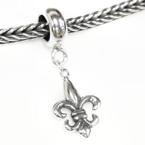 Queenberry Sterling Silver Fleur-de-lis Lily Dangle European Bead Charm