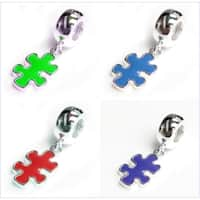 Queenberry Sterling Silver Autism Awareness Enamel Jigsaw Puzzle Piece Dangle European Bead Charm