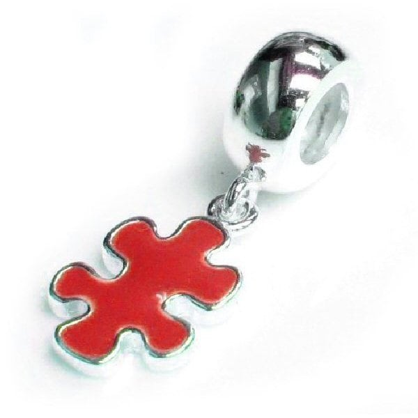 Queenberry Sterling Silver Autism Awareness Enamel Jigsaw...