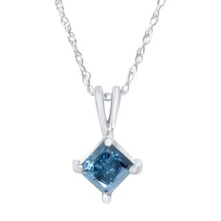 14k White Gold 1/2ct Princess-cut Blue Diamond Solitaire Necklace