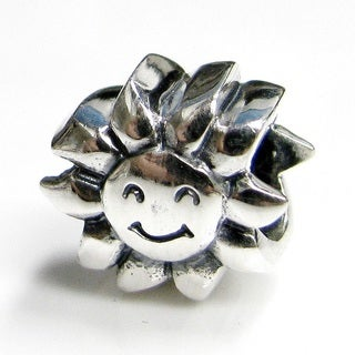 Queenberry Sterling Silver Smiley Sunflower European Bead Charm
