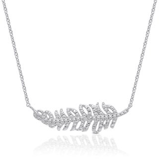 Finesque Silver Overlay Diamond Accent Feather Necklace