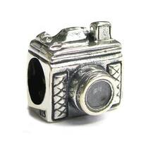 Queenberry Sterling Silver Classic 3D Camera Hobbies European Bead Charm
