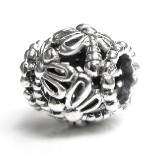Queenberry Sterling Silver Barrel Shape Filigree Dragonfly European Bead Charm