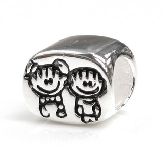 Queenberry Sterling Silver Boy and Girl Sibling European Bead Charm