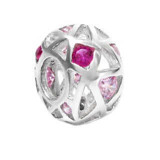 Queenberry Sterling Silver Pink Cubic Zirconia European Bead Charm