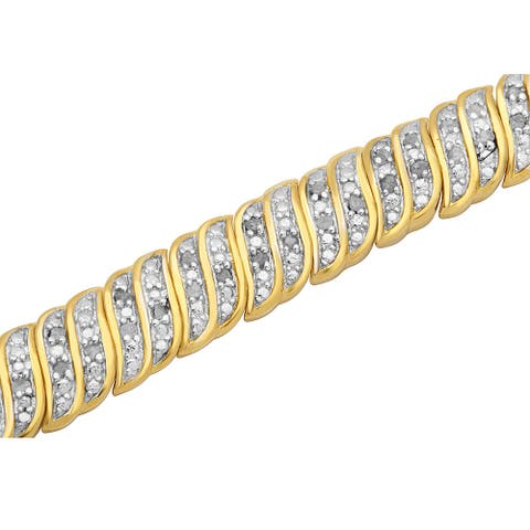 Divina 14k Yellow Goldplated 1ct TDW Diamond Fashion Bracelet - n/a