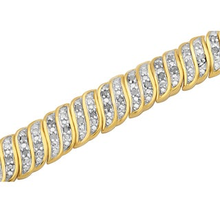 Divina 14k Yellow Goldplated 1ct TDW Diamond Fashion Bracelet (I-J, I2-I3)