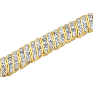 Divina 14k Yellow Goldplated 1ct TDW Diamond Fashion Bracelet