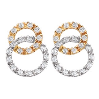 Avanti 14k Two-tone Gold 1/4ct TDW Double Circle Diamond Earrings (I-J, I2-I3)