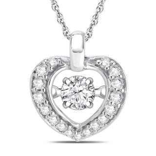 Divina Sterling Silver Dancing Diamond Accent Heart Necklace (I-J, I3)