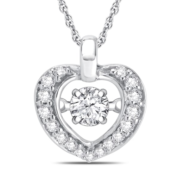 Divina Sterling Silver Dancing Diamond Accent Heart Necklace