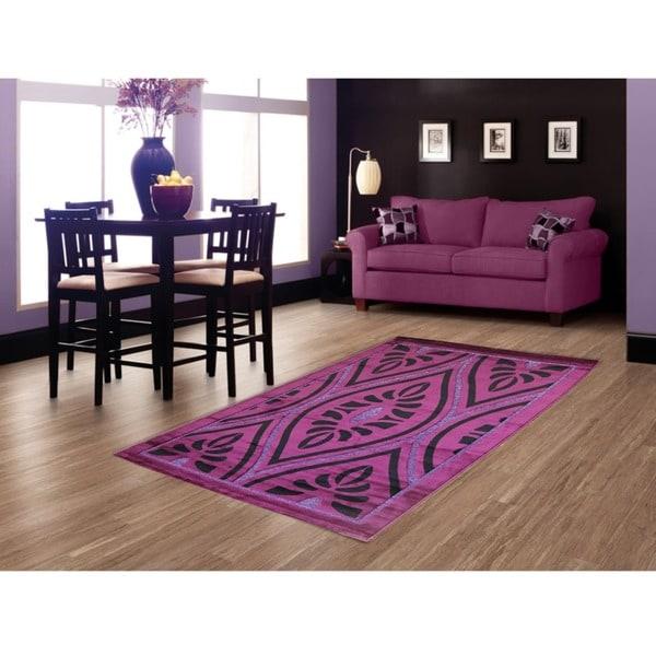 LYKE Home Hazel Purple Area Rug (5' x 8')