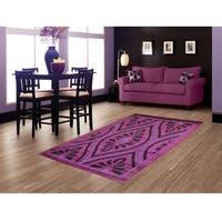 LYKE Home Hazel Purple Area Rug (8' x 11')