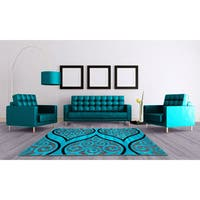 LYKE Home Hazel Blue Area Rug