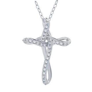 Divina Rhodium over Sterling Silver 1/10ct TDW Diamond Cross Pendant (I-J, I2-I3)