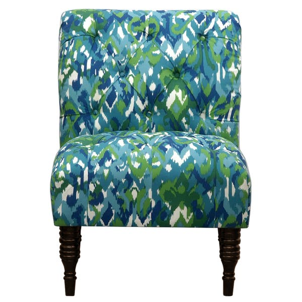 Tremendous Shop Blue Green Ikat Tufted Accent Chair Free Shipping Lamtechconsult Wood Chair Design Ideas Lamtechconsultcom