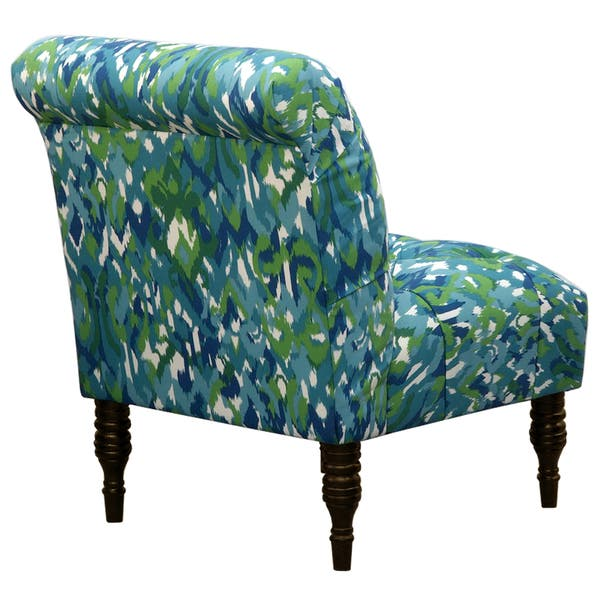 Fine Shop Blue Green Ikat Tufted Accent Chair Free Shipping Lamtechconsult Wood Chair Design Ideas Lamtechconsultcom