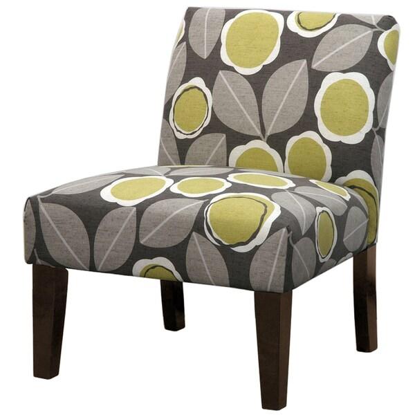 Grey Green Leaf Pattern Slipper Chair Free Shipping