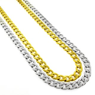 Stainless Steel Men's 8mm Cuban Curb Link Chain Necklace (24-inch)