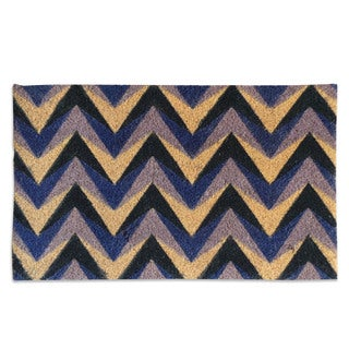First Impression Purple Chevron Coir Doormat