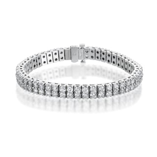 SummerRose 14k White Gold 10ct TDW Diamond Double Row Tennis Bracelet
