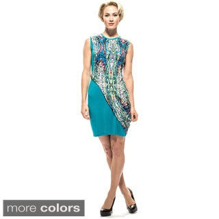 Amelia Women's Mosaic Knit Print Overlay Sheath Dress