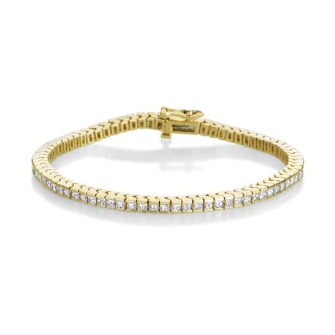 Summer Rose 14k Yellow Gold 4ct TDW Princess-cut Diamond Tennis Bracelet